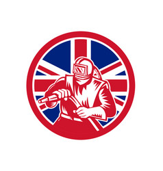 british sandblaster union jack flag vector image