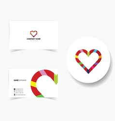 Business card with heart vector