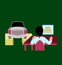 Car service computer diagnostics vector