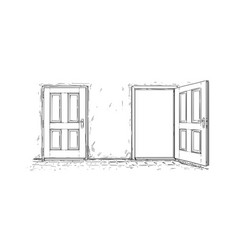 Cartoon of two open and close wooden decision door vector