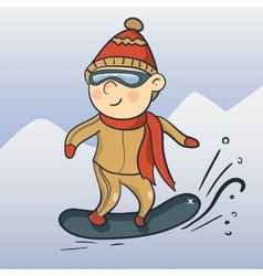 cartoon snowboarder vector image
