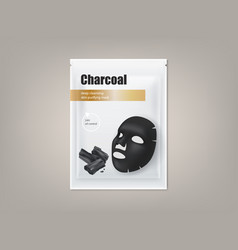 Charcoal black facial mask package design vector