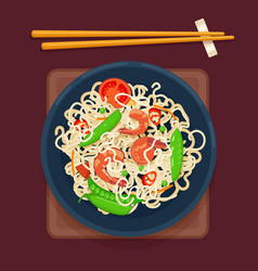 Chinese noodles with vegetables and shrimp vector