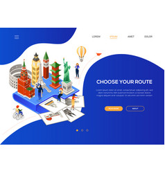 choose your route - colorful isometric web banner vector image