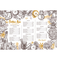 christmas holiday layout festive food menu vector image