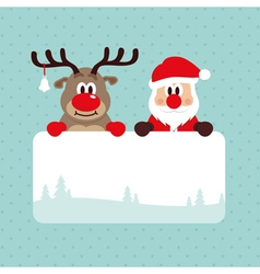 Christmas Santa And Rudolph vector image
