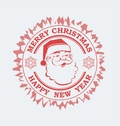 Christmas sign print in red hues with santa claus vector