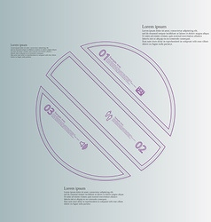 Circle infographic template askew divided to three vector