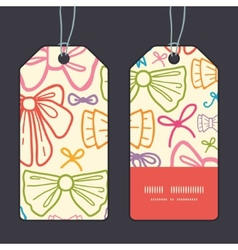 Colorful bows vertical stripe frame pattern tags vector