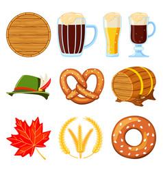 colorful cartoon 10 oktoberfest elements set vector image