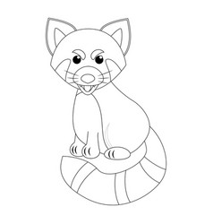 Colorless funny cartoon red panda vector