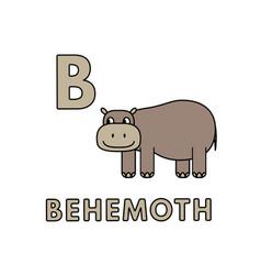 cute cartoon animals alphabet behemoth vector image