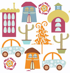 cute colorful abstract city modern houses pattern vector image