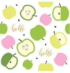 cute seamless pattern for kids with kawaii apples vector image