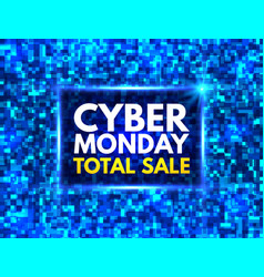 cyber monday total sale banner bright blue mosaic vector image