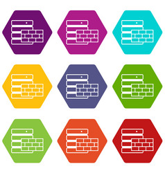database and brick wall icon set color hexahedron vector image