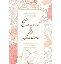 Delicate tender floral frame from pink rose peony vector