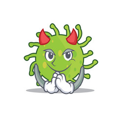 devil green bacteria mascot cartoon vector image