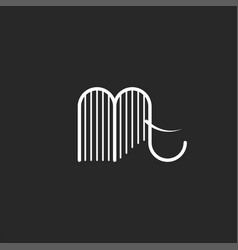 Elephant logo or abstract mammoth with tusks vector