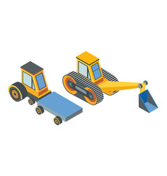 Excavator and transport with cargo place belt vector