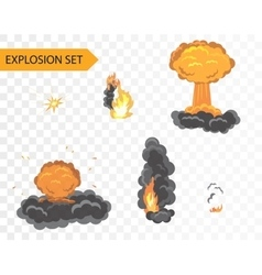Explode animation effect cartoon explosion vector