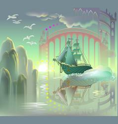 Fantastic ship in fairyland cartoon image vector