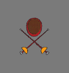 Fencing equipment in hatching style vector