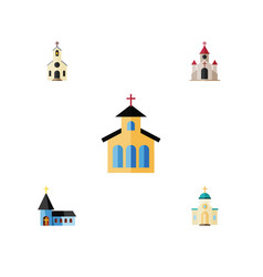 Flat icon church set of traditional catholic vector
