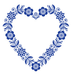 Folk heart design scandinavian ornament vector