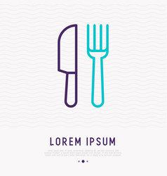 fork and knife thin line icon vector image