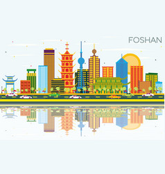 foshan china skyline with color buildings blue vector image