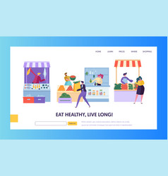 Fresh food farmer organic market concept web page vector
