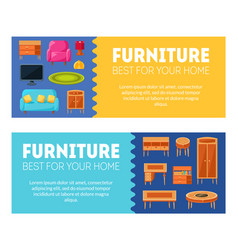 furniture horizontal banners templates set best vector image