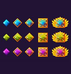 Gems award progress golden amulets set vector