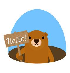 Groundhog hello board icon flat style vector