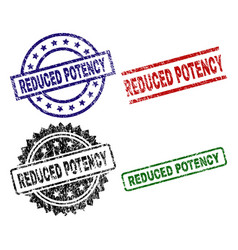 Grunge textured reduced potency seal stamps vector