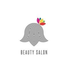 Hairdressing salon logo silhouette abstract face vector image