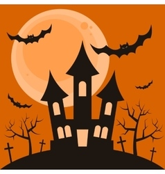 Halloween night background with terrible house vector