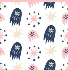 Hand drawn outer space seamless pattern vector