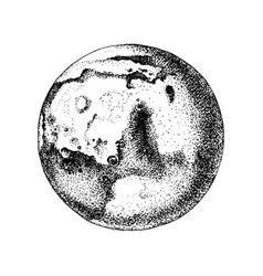hand drawn planet mars vector image