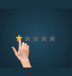 Hand with star rating evaluation system an vector
