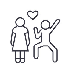 happy love couple linear icon sign symbol vector image