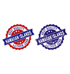 Hawaii islands best quality stamp with scratched vector