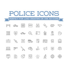 Icons set of police related icons vector