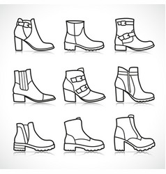 Isolated boots icons set vector