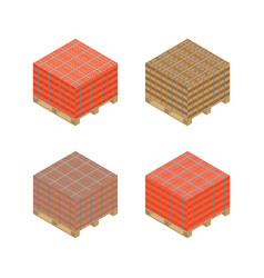 Isometric wooden pallet with bricks vector