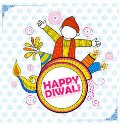Kid celebrating happy diwali holiday doodle vector