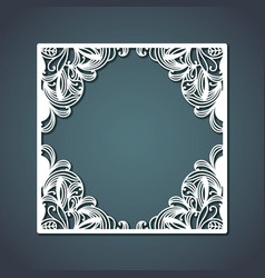 laser cutting of square frame with floral vector image