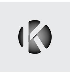 Letter k made wide white stripes vector
