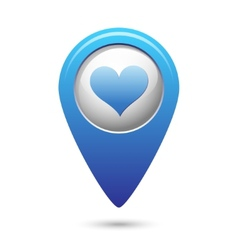 Map pointer with heart icon vector image